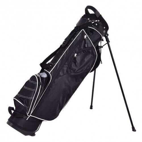 Golf Stand Cart Bag w/ 4 Way Divider Carry Organizer Pockets-Black - Color: Black