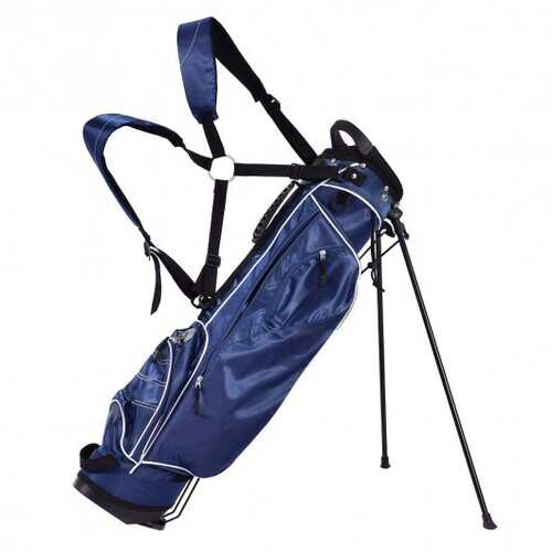 Golf Stand Cart Bag w/ 4 Way Divider Carry Organizer Pockets-Blue - Color: Blue