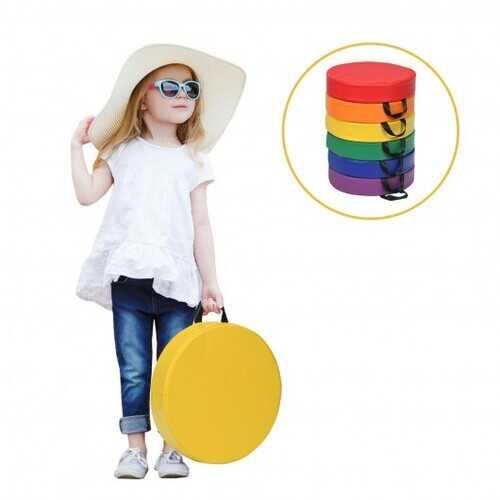 """6-Piece 15"""" Round Toddler Floor Cushions-Multicolor - Color: Multicolor"""