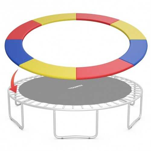 10FT Waterproof Safety Trampoline  Bounce Frame Spring Cover-Multicolor - Color: Multicolor