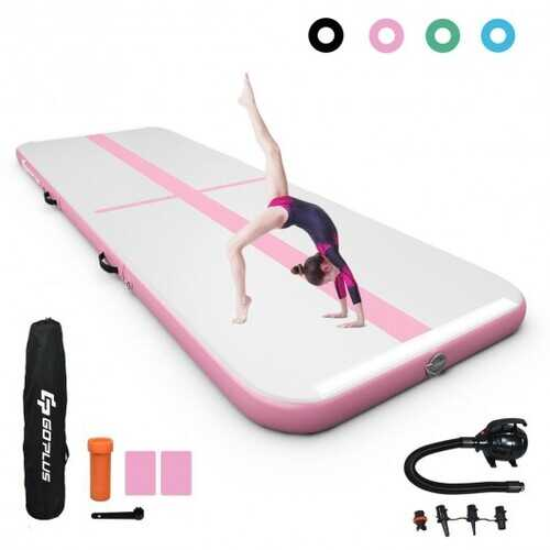 Air Track Inflatable Gymnastics Tumbling Mat with Pump-Pink - Color: Pink