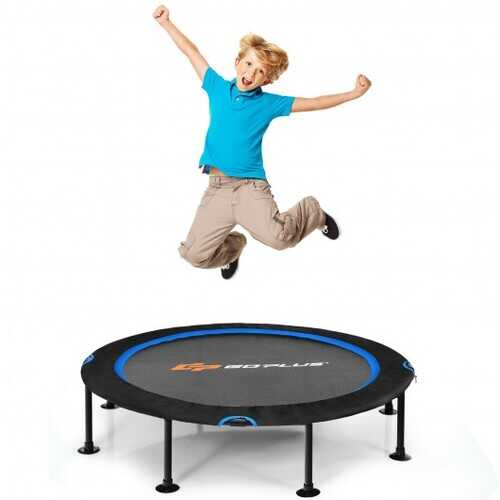 """47"""" Folding Trampoline Fitness Exercise Rebound with Safety Pad Kids and Adults-Blue - Color: Blue"""