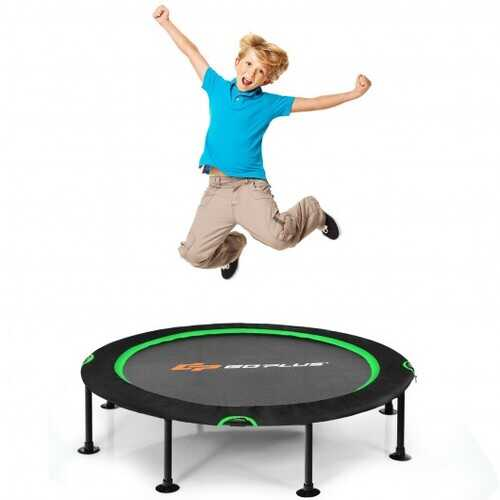 """47"""" Folding Trampoline Fitness Exercise Rebound with Safety Pad Kids and Adults-Green - Color: Green"""