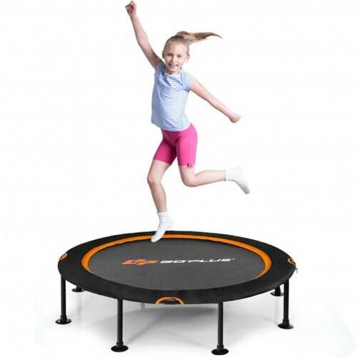 """47"""" Folding Trampoline Fitness Exercise Rebound with Safety Pad Kids and Adults-Orange - Color: Orange"""