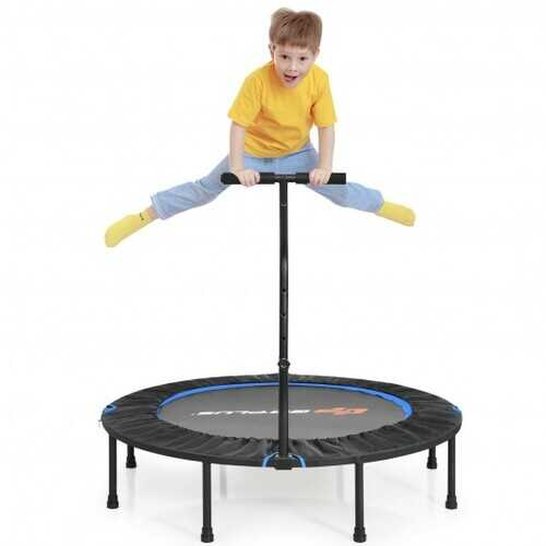"""47"""" Folding Trampoline Fitness Exercise Rebound with Handle for Adults and Kids-Blue - Color: Blue"""