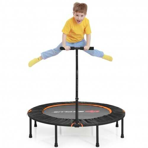 """47"""" Folding Trampoline Fitness Exercise Rebound with Handle for Adults and Kids-Orange - Color: Orange"""