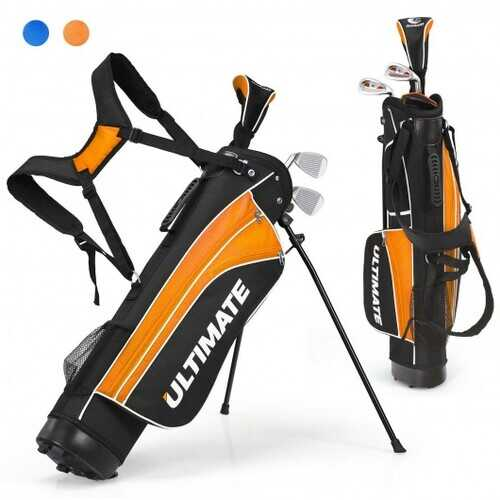 """Set of 5 Ultimate 31"""" Portable Junior Complete Golf Club Set for Kids Age 8+ -Orange - Color: Orange"""