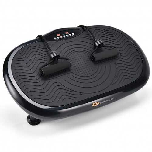 Mini Vibration Body Fitness Platform with Loop Bands-Black - Color: Black