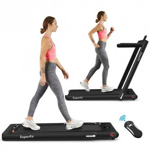 2-in-1 Folding Treadmill with Bluetooth Speaker LED Display-Black - Color: Black