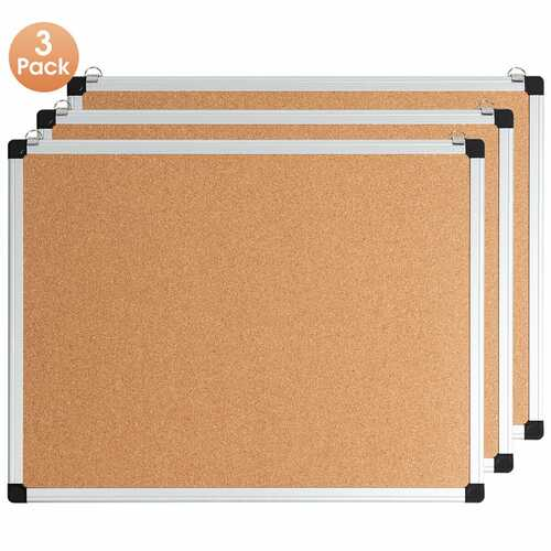 """1 or 3 Pack 24"""" x 18"""" Cork Board Set with 10 Thumb Tacks-3 Pack"""