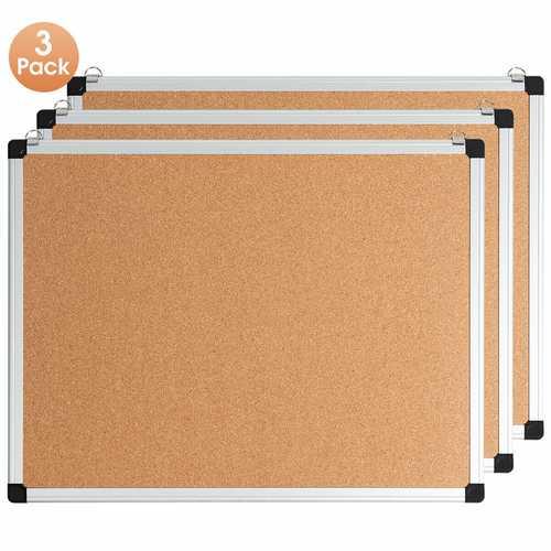 "1 or 3 Pack 24"" x 18"" Cork Board Set with 10 Thumb Tacks"