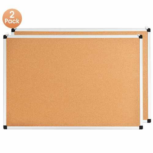 "24"" x 36"" Aluminum Framed Cork Board Bulletin Board with 12 Pins-2 Pack"