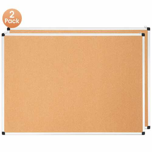"""44"""" x 32"""" Cork Notice Pin Board  with Aluminum Frame-2 Pack"""