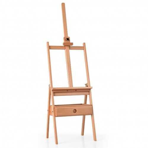 Adjustable  Floor Wooden Artist Easel H-Frame with Art Supply Storage Drawer