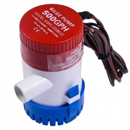 "12V 2.0A 500 GPH Electric Bilge Pump Marine Boat Yacht Submersible 3/4"" Hose"