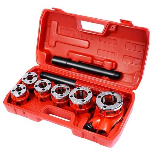 Ratchet Ratcheting Pipe Threader Kit Set w/ 6 Dies and Storage Case
