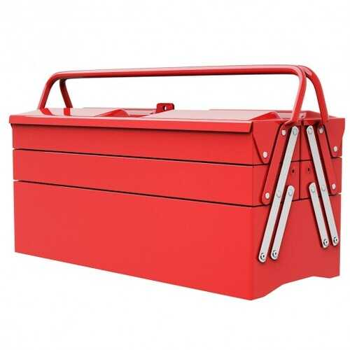 """20"""" Portable 5 Trays Mechanic Garage Steel Cantilever Tool Box - Color: Red"""
