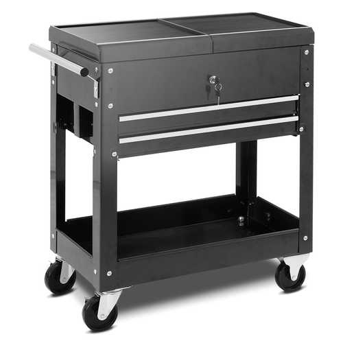 Rolling Mechanics Tool Cart Slide Top Utility Storage Cabinet Organizer 2 Drawer - Color: Black