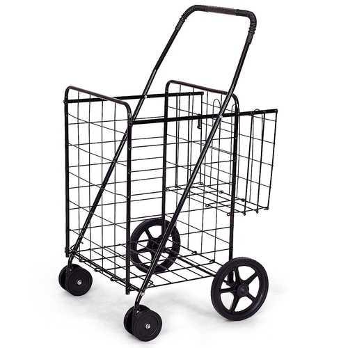 Jumbo Basket for Grocery Laundry Travel w/ Swivel Wheels