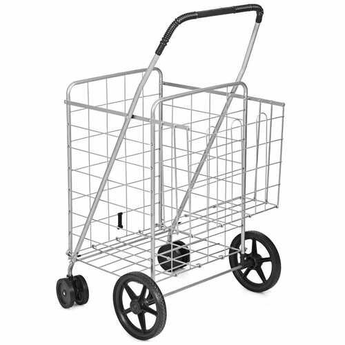 Jumbo Basket for Grocery Laundry Travel with Swivel Wheels-Sliver