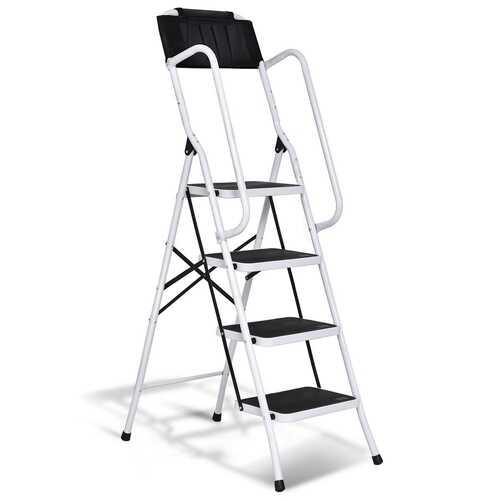 2-in-1 Folding Non-slip 4 Step Ladder