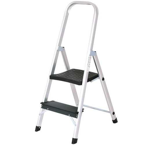 2 Step Folding Aluminum Ladder with Non-Slip Work Platform