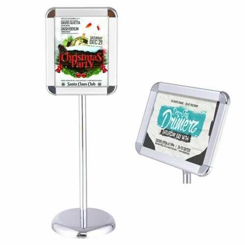 Adjustable Pedestal Poster Stand Aluminum Snap For 8.5'' x 11'' Graphic