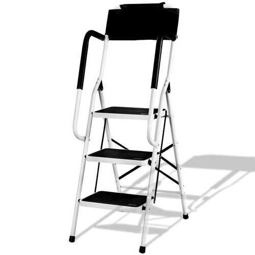 3-Step Non-slip Folding Stool Ladder with Handrails