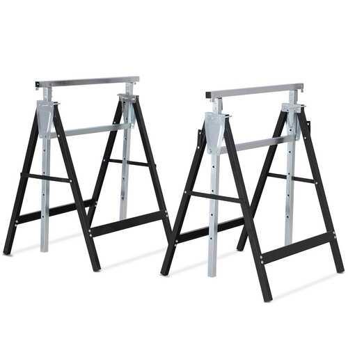 2 Pack Sawhorse Height Adjustable Folding Heavy Duty Trestle