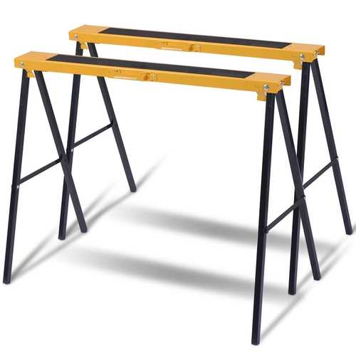 2 Pack Heavy Duty Sawhorse with Steel Folding Legs