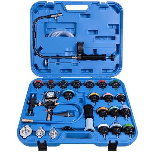 28 pcs Pressure Tester Vacuum-Type Cooling System Refill Kit - Color: Blue
