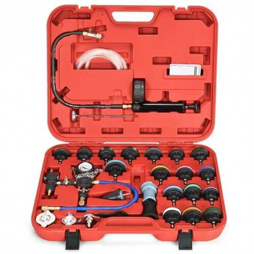 28 pcs Pressure Tester Vacuum-Type Cooling System Refill Kit-Red