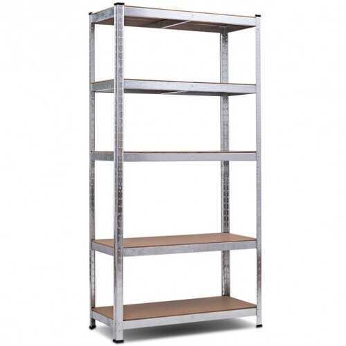 """72"""" Storage Shelf Steel Metal 5 Levels Adjustable Shelves - Color: Silver"""