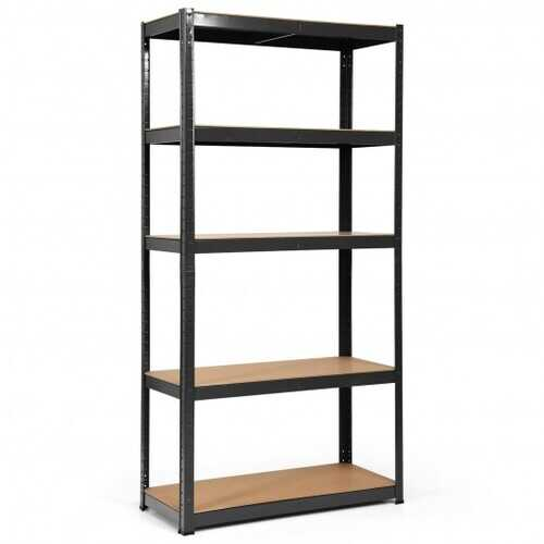 """72"""" Storage Shelf Steel Metal 5 Levels Adjustable Shelves-Black - Color: Black"""