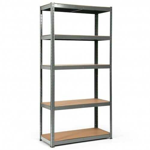 """72"""" Storage Shelf Steel Metal 5 Levels Adjustable Shelves-Gray - Color: Gray"""