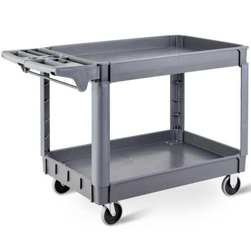 "46"" x 25"" x 33"" Plastic Utility 2 Shelves Rolling Service Cart"