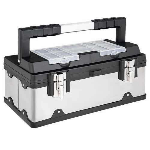 "18"" Tool Box Stainless Steel and Plastic Portable Organizer with Lid"