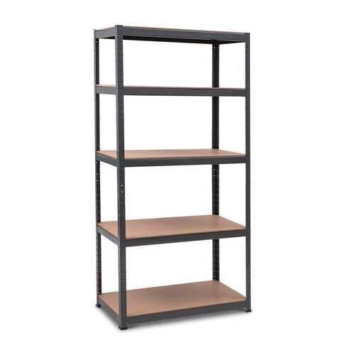 "71"" x 36"" Heavy Duty 5 Level Adjustable Storage Garage Shelf-Black"