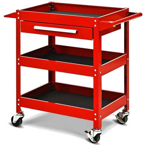 Rolling Tool Cart Mechanic Cabinet Storage ToolBox Organizer with Drawer-Red