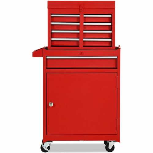 2-in-1 Tool Chest & Cabinet with 5 Sliding Drawers-Red