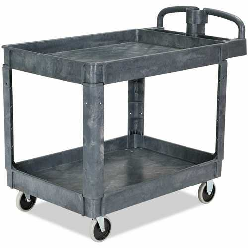 Plastic Utility Service Cart 550 lbs Capacity 2 Shelves Rolling