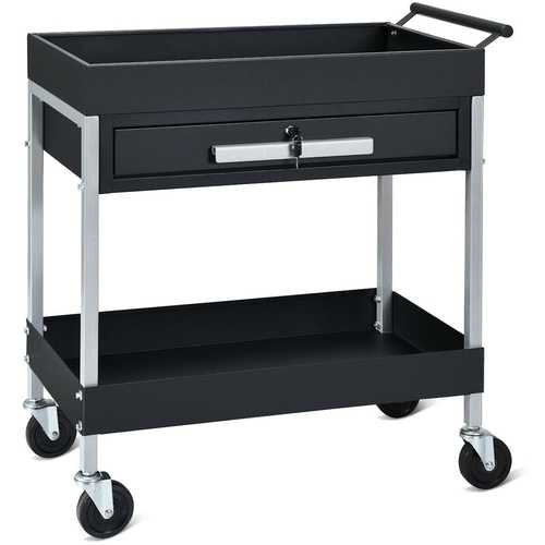 2-Shelf Heavy Duty Tool Cart Service Cart with Lock Drawer & Wheels