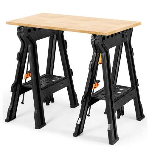 2 Pack Folding Sawhorse with Bar Clamps