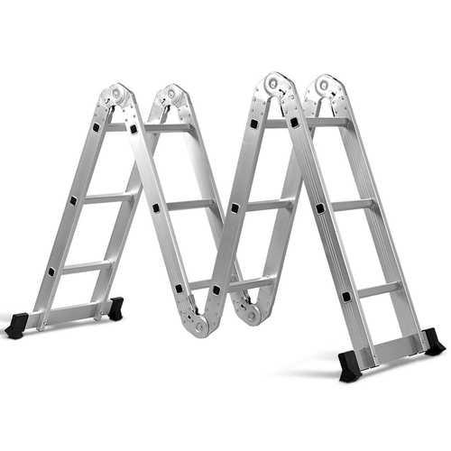12.5' 12-Step Multi Purpose Aluminum Folding Scaffold Ladder