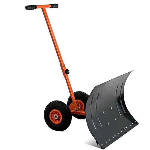 Adjustable Wheeled Snow Pusher/Shovel Heavy