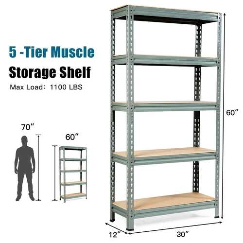 5-Tier Steel Shelving Unit Storage Shelves Heavy Duty Storage Rack-Gray - Color: Gray