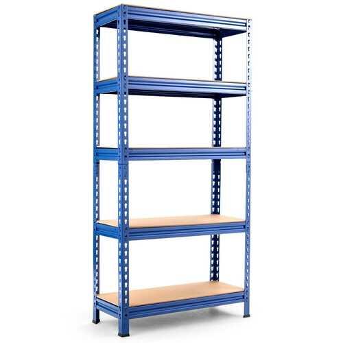5-Tier Steel Shelving Unit Storage Shelves Heavy Duty Storage Rack-Blue - Color: Blue