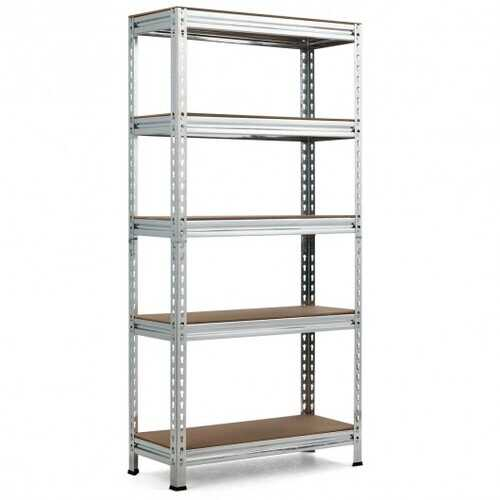 5-Tier Steel Shelving Unit Storage Shelves Heavy Duty Storage Rack-Silver - Color: Silver