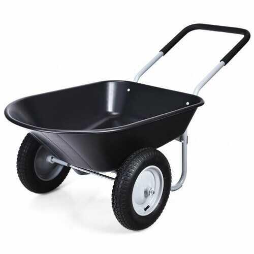 2 Tire Wheelbarrow Garden Cart Heavy-duty Dolly Utility Cart-Black - Color: Black