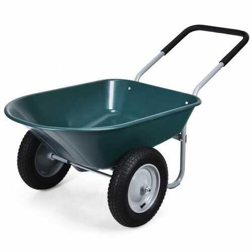2 Tire Wheelbarrow Garden Cart Heavy-duty Dolly Utility Cart - Color: Green